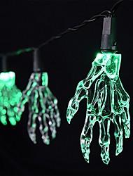 cheap -Battery Powered 10 LED Skeleton Hand Halloween Green Linkable 4 Feet Christmas String  Lights