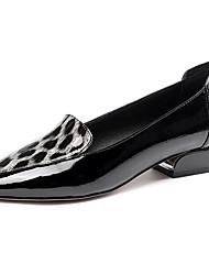 cheap -Women's Heels Low Heel Pointed Toe PU Casual Fall Black / Red / Leopard