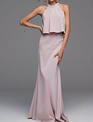 cheap -Mermaid / Trumpet Halter Neck Floor Length Chiffon Bridesmaid Dress with / Two Piece