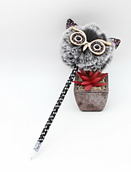 cheap -New Style Plastic/PU / Hair Ball Blue Pencil Lead Ballpoint Craft Gifts Owl Pen For Children Learning & OL Stationery
