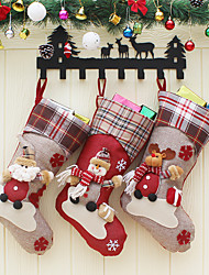 cheap -Christmas Stockings Santa Claus Sock Gift For Children Candy Bag Christmas Decoration Noel For Home Christmas Tree Ornaments