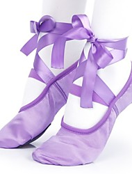 cheap -Women's Dance Shoes Satin Ballet Shoes Flat Flat Heel Customizable Purple / Almond / Red