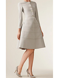 cheap -A-Line Jewel Neck Knee Length Polyester Long Sleeve Elegant / Vintage Mother of the Bride Dress with Buttons / Ruching 2020