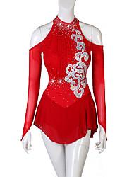 cheap -Figure Skating Ice Skating Women's / Girls' Performance Spandex Ruching / Crystals / Rhinestones Long Sleeve Dress