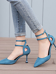 cheap -Women's Heels Kitten Heel Pointed Toe Suede Sweet / Minimalism Spring &  Fall / Fall & Winter Black / Almond / Blue / Party & Evening