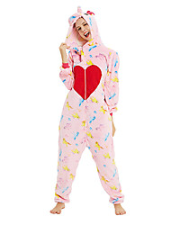 cheap -Teenager Adults' Kigurumi Pajamas Unicorn Flying Horse Onesie Pajamas Flannelette Pink Cosplay For Men and Women Animal Sleepwear Cartoon Festival / Holiday Costumes