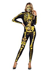 cheap -Skeleton / Skull Zentai Suits Cosplay Costume Adults' Women's One Piece Halloween Halloween Festival / Holiday Polyster Gold / Gray Women's Carnival Costumes / Leotard / Onesie / Leotard / Onesie