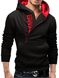cheap -Men's Active Long Sleeve Hoodie - Color Block Hooded Black M / Fall / Winter
