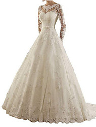 cheap -A-Line Bateau Neck Sweep / Brush Train Lace Long Sleeve Simple Made-To-Measure Wedding Dresses with Lace 2020