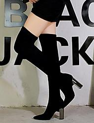 Недорогие -Жен. Ботинки Кожаные сапоги На толстом каблуке Заостренный носок Эластичная ткань Сапоги выше колена Винтаж / Минимализм Весна & осень / Наступила зима Черный / Для вечеринки / ужина