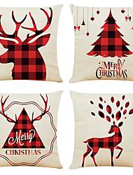 Недорогие -Набор из 4-х клетчатых рождественских льняных квадратных декоративных наволочек диванных чехлов 18х18