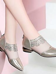 cheap -Women's Flats Mesh Flat Heel Round Toe Daily PU Black Gold