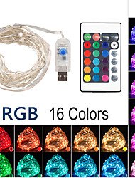 cheap -10m String Lights Remote Controls 100 LEDs 1 24Keys Remote Controller 16 Colors Full Color Change Cuttable Gypsophila Firefly Light Christmas Tree Decoration Lights USB Party 5 V 1 set