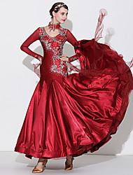 cheap -Ballroom Dance Dress Appliques Split Joint Crystals / Rhinestones Women's Performance Long Sleeve High Spandex Tulle Imitation Silk