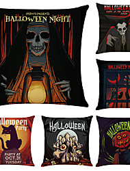 cheap -Set of 6 Halloween Night Linen Square Decorative Throw Pillow Cases Sofa Cushion Covers 18x18