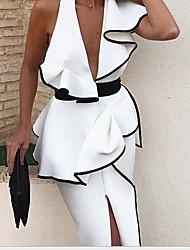 cheap -Women's Bodycon Dress - Solid Colored V Neck White S M L XL