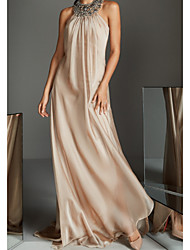 cheap -A-Line Halter Neck Floor Length Chiffon Elegant Formal Evening Dress 2020 with Beading