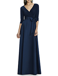 cheap -A-Line V Neck Floor Length Jersey Elegant Formal Evening Dress with Bow(s) 2020