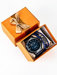 cheap -Men's Sport Watch Quartz PU Leather Black Chronograph Creative New Design Analog New Arrival Fashion - Black One Year Battery Life