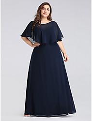 cheap -A-Line Jewel Neck Floor Length Chiffon Half Sleeve Plus Size Mother of the Bride Dress with Ruffles 2020 / Petal Sleeve