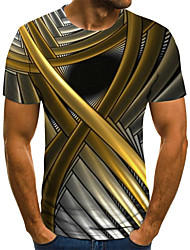 cheap -Men's Plus Size Abstract Graphic Pleated Print T-shirt Street chic Weekend Round Neck Gold / Summer / Short Sleeve