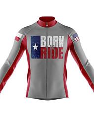 cheap -21Grams American / USA National Flag Men's Long Sleeve Cycling Jersey - Grey Bike Jersey Top Thermal / Warm UV Resistant Breathable Sports Winter Fleece 100% Polyester Mountain Bike MTB Road Bike