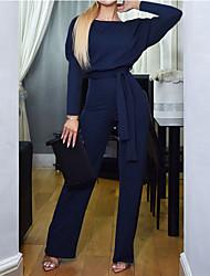 cheap -Women's Active / Basic Black Blue Beige Jumpsuit, Solid Colored Lace up S M L