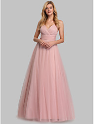 cheap -A-Line V Neck Floor Length Chiffon / Tulle Open Back / Elegant Prom Dress 2020 with Crystals / Sash / Ribbon