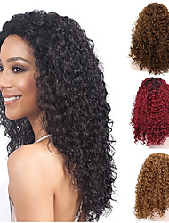 cheap -Synthetic Wig Afro Curly Water Wave Rihanna Middle Part Wig Medium Length Natural Black #1B Golden Brown#12 Strawberry Blonde#27 Bleach Blonde#613 Dark Wine Synthetic Hair 18 inch Women's Heat
