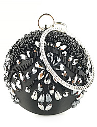 cheap -Women's Sequin / Chain Polyester / Silk Evening Bag Solid Color Black / White / Red