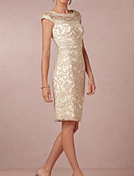 cheap -A-Line Jewel Neck Knee Length Lace Short Sleeve Elegant & Luxurious Mother of the Bride Dress with Appliques 2020
