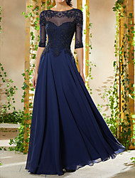 cheap -A-Line Boat Neck Floor Length Chiffon Empire / Blue Formal Evening / Wedding Guest Dress with Beading / Appliques 2020