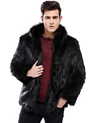 cheap -Men's Beach Winter Regular Faux Fur Coat, Solid Colored Round Neck Long Sleeve Faux Fur Black / Brown / Gray