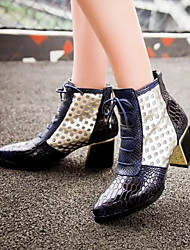 cheap -Women's Boots Chunky Heel Pointed Toe PU Booties / Ankle Boots Summer Brown / Red / Blue