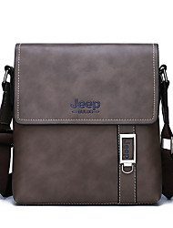 cheap -Men's Zipper PU Briefcase Solid Color Brown / Gray / Khaki