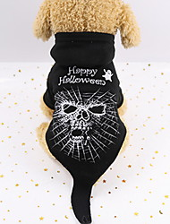 cheap -Dogs Outfits Winter Dog Clothes Black Halloween Costume Polyster Skull Holiday Funny XS S M L XL XXL