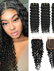 cheap -3 Bundles with Closure Brazilian Hair Curly Deep Wave Virgin Human Hair 100% Remy Hair Weave Bundles Natural Color Hair Weaves / Hair Bulk Bundle Hair Human Hair Extensions 8-24 inch Black Natural