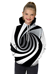 cheap -Kids Toddler Girls' Active Basic Black & White Fantastic Beasts Striped Geometric Color Block Print Long Sleeve Hoodie & Sweatshirt White