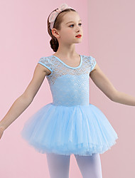 cheap -Ballet Dresses Girls' Training / Performance Cotton / Elastane / Lace Pleats Cap Sleeve Dress
