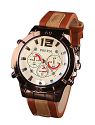 cheap -Men's Sport Watch Quartz Leather Black / Red / Brown No Chronograph Creative New Design Analog Outdoor New Arrival - Black Brown Black / White One Year Battery Life
