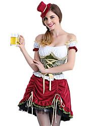 cheap -Oktoberfest Beer Dirndl Trachtenkleider Women's Dress Bavarian Costume Purple / Floral