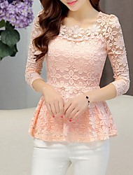 cheap -Women's Daily Blouse - Solid Colored Lace Black