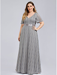 cheap -A-Line Plus Size Grey Wedding Guest Formal Evening Dress V Neck Short Sleeve Floor Length Lace with Lace Insert Pattern / Print 2020