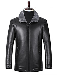 cheap -Men's Daily Street chic Fall & Winter Regular Leather Jacket, Solid Colored Shirt Collar Long Sleeve PU Black / Brown / Khaki