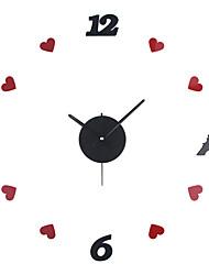 Недорогие -Современный современный / Настенный стекло / Пластиковые & Металл Круглый Сад / Цветы В помещении Аккумуляторы AA Украшение Настенные часы Цифровой Зеркальное Нет