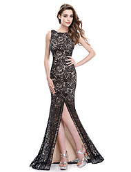 cheap -Mermaid / Trumpet Boat Neck Sweep / Brush Train Lace Sexy / Black Engagement / Formal Evening Dress with Split / Lace Insert 2020