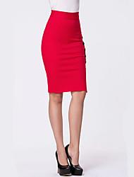Недорогие -Жен. Изысканный Облегающий силуэт Подол Однотонный Черный Винный Красный S M L