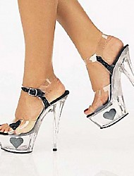 cheap -Women's Sandals Stiletto Heel Peep Toe PU British Summer / Fall Black / Silver