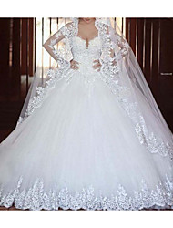 cheap -A-Line Sweetheart Neckline Sweep / Brush Train Lace Long Sleeve Formal Illusion Detail Made-To-Measure Wedding Dresses with 2020
