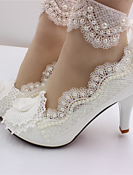 cheap -Women's Wedding Shoes Stiletto Heel Round Toe Imitation Pearl / Stitching Lace Lace / PU Sweet Spring &  Fall White / 3D
